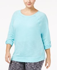 Calvin Klein Performance Plus Size Dolman Sleeve Tunic Beau Blue