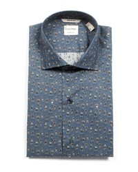 Culturata Tailored Fit Retro Boxer Print Dress Shirt Blue
