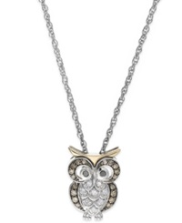 Macy's Brown And White Diamond Owl Pendant Necklace In Sterling Silver And 14K Gold 1 6 Ct. T.W.
