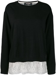 Twin Set Boxy Jumper With Slip Top Black