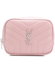 Saint Laurent Quilted Logo Make Up Bag Pink And Purple