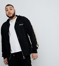 Sixth June Track Jacket In Black With Gold Side Stripe Exclusive To Asos