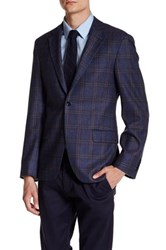 Ike Behar Navy Plaid Double Button Notched Lapel Wool Jacket Blue