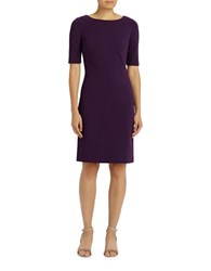 Lafayette 148 New York Solid Boatneck Sheath Dress Eggplant