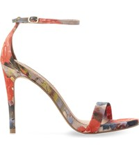 Steve Madden Stecy Floral Print Heeled Sandals Pink Synthetic