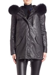 Alice Olivia Tandy Two In One Hooded Parka And Fox Fur Vest Black