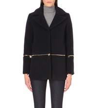 Sandro Zip Detail Wool Blend Coat Navy Blue