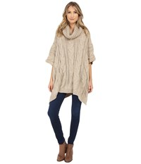 Christin Michaels Audrey Cable Knit Turtleneck Poncho Tan Women's Clothing