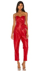 Kendall Kylie Bianca Vegan Leather Jumpsuit In Red. Melrose Red