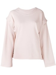 Maison Martin Margiela Mm6 Buttoned Sweatshirt Women Cotton M Pink Purple