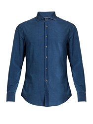 Brunello Cucinelli Button Cuff Cotton Shirt Blue