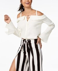 Material Girl Juniors' Off The Shoulder Button Front Blouse Created For Macy's Cloud Dancer