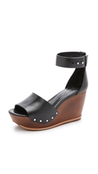Derek Lam Murray Wooden Wedge Sandals Black