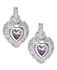 Victoria Townsend Amethyst 3 8 Ct. T.W. And Diamond Accent Heart Earrings In Sterling Silver