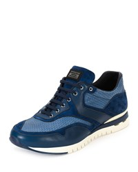 Stefano Ricci Python Leather And Suede Sport Trainer Sneaker Blue Men's