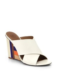 Tory Burch Colorblock Wooden Wedge Leather Mule Sandals White Multi