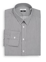 Versace Trend Fit Hairline Striped Dress Shirt White Grey