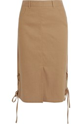 See By Chloe Lace Up Linen Blend Midi Skirt Camel