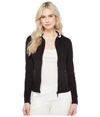 Ivanka Trump Ruffle Collar Zip Up Black Blush Women's Jacket
