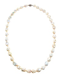 Belpearl Long White Baroque Freshwater Pearl Necklace