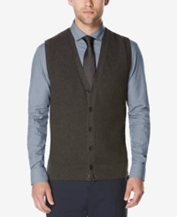 Perry Ellis Men's Button Front Sweater Vest Charcoal Heather