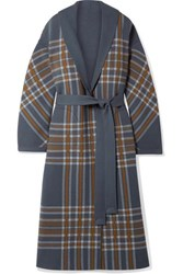 Loro Piana Calgary Reversible Leather Trimmed Belted Checked Cashmere Coat Gray