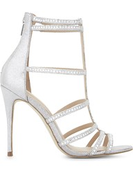Aldo Mally Caged Heeled Sandals Silver