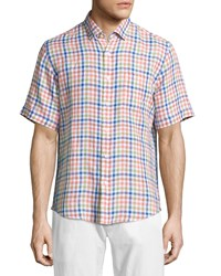 Neiman Marcus Linen Gingham Short Sleeve Shirt Leaf
