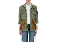 Ottotredici Women's Drawstring Cotton Field Jacket Grey Dark Green