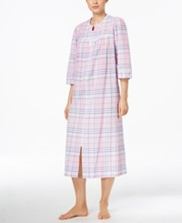 Miss Elaine Long Embroidered Trim Plaid Robe Pink Navy Plaid