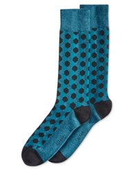 Alfani Men's Hexagon Crew Socks Only At Macy's Teal Heather Hexagon