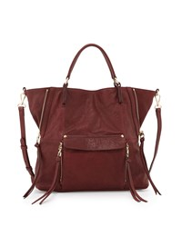Everette Leather Satchel Bag Burgundy Red Kooba