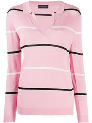 Cashmere In Love Striped Polo Shirt Pink