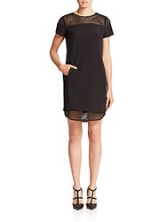 Set Mesh Detail Shift Dress Black