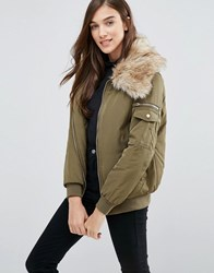 New Look Padded Bomber With Faux Fur Collar Dark Khaki Green