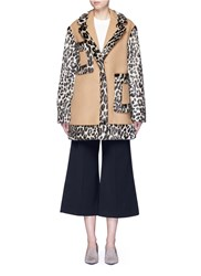 Stella Mccartney Colourblock Leopard Faux Fur Melton Coat Brown Animal Print
