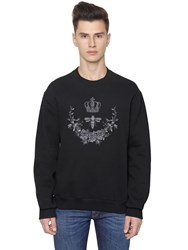Dolce And Gabbana Crown Bee Embroidered Cotton Sweatshirt