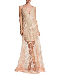 Dress The Population Sidney Lace Overlay Gown Peach Nude