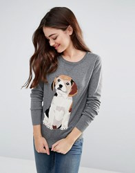 Sugarhill Boutique Frankie Beagle Intarsia Sweater Grey Marl