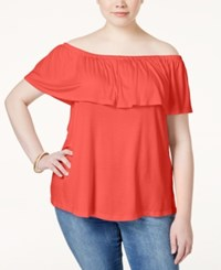 Ing Plus Size Off The Shoulder Ruffled Top Coral