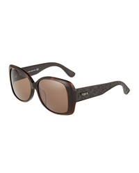 Tod's Square Quilted Plastic Sunglasses Brown