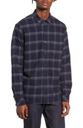 Rails Forrest Slim Fit Plaid Flannel Sport Shirt Navy Heathered Charcoal