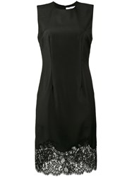 Givenchy Sleeveless Knee Length Slip Dress With Lace Trim Women Silk Cotton Polyamide Wool 40 Black