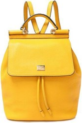 Dolce And Gabbana Woman Textured Leather Backpack Marigold