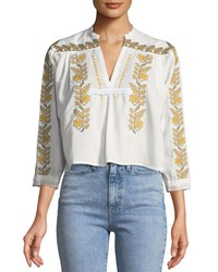 Haute Rogue Lindzi Floral Embroidered Peasant Blouse White
