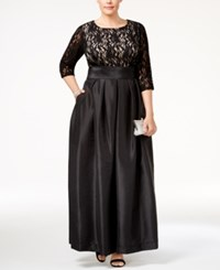 R And M Richards Plus Size Lace Satin Gown Black Taupe