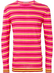 Ermanno Scervino Striped Pattern Sweater Pink And Purple