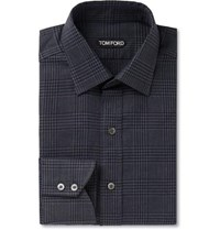 Tom Ford Grey Prince Of Wales Checked Cotton Shirt Gray