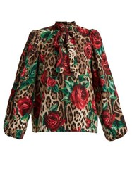 Dolce And Gabbana Leopard And Rose Print Pussy Bow Silk Blend Blouse Beige Multi