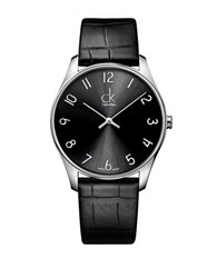 Calvin Klein Classic Stainless Steel Black Leather Strap Watch K4d211cx